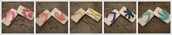 5種類の動物の足跡のビーチサンダル